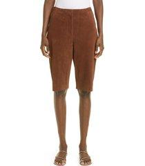 women's toteme suede bermuda shorts, size 4 us - brown