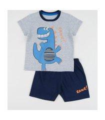 pijama infantil dinossauro manga curta cinza mescla