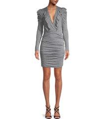 iro women's melange plunging ruched dress - grey - size 34 (2)