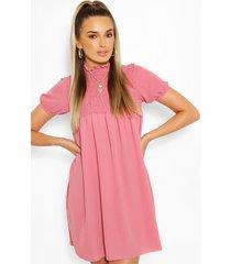 gesmokte jurk met pofmouwen, roze