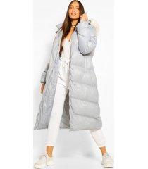 tall lange gewatteerde faux fur jas, grey