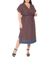 alexia admor women's plus iris geometric-print wrap dress - rust geo multi - size 2x (18-20)