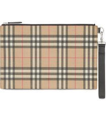 burberry vintage check e-canvas and leather zip pouch - brown
