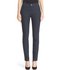 women's lafayette 148 new york 'primo denim' curvy fit slim leg jeans, size 12 - blue