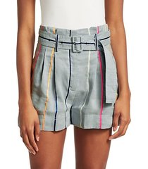 high-rise rainbow stripe belted shorts
