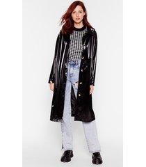 womens sheen you around collared vinyl coat - black