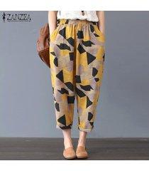 zanzea mujeres verano cintura elástica floral harem pantalones damas algodón pantalones sueltos -amarillo