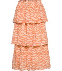 gloss malica skirt bz knälång kjol orange bruuns bazaar
