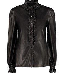 pinko bruno faux leather shirt