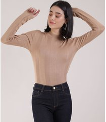 blusa feminina básica em tricô manga longa kaki