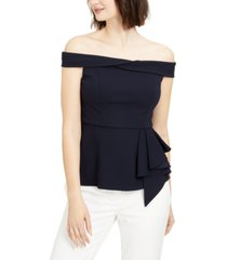 adrianna papell petite off-the-shoulder peplum top