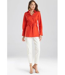 natori cotton poplin tie front tunic top, women's, orange, size s natori