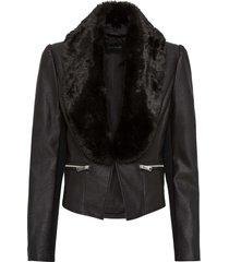 giacca in similpelle con collo in ecopelliccia (nero) - bodyflirt