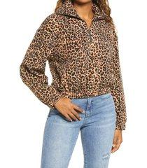 women's bp. print fleece pullover, size small - brown