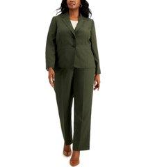 le suit plus size two-button pinstripe pantsuit
