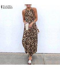 zanzea de vacaciones para mujer leopardo sin mangas vestido de la playa kaftan vestidos largos de las señoras -marrón
