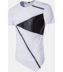 t-shirt in cotone casual a manica corta con scollo a v, manica lunga colore hip-hop da uomo