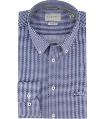 blauw wit geprint overhemd bugatti met borstzak