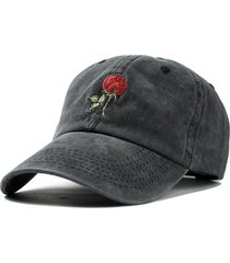 rose embroidered baseball cap
