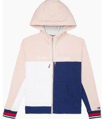 tommy hilfiger women's essential colorblock zip hoodie pink/ white/ blue - xs