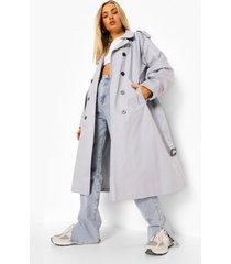 oversized trenchcoat met ballonmouwen, silver grey
