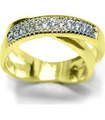 anel kumbayá  x trançado semijoia banho de ouro 18k cravação de zircônias detalhe em ródio