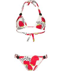 adriana degreas strawberry-print halterneck bikini - red