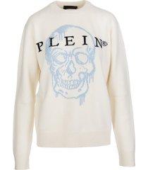 philipp plein woman cream skull intarsia round-neck pullover