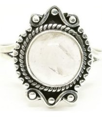 anel lolla925 quartzo rosa chic boho prata 925