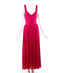 alexander mcqueen 2020 orchid pink chiffon ribbed knit dress pink sz: s