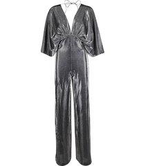 federica tosi silver-tone cotton blend jumpsuit