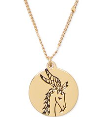 "kate spade new york gold-tone zodiac disc pendant necklace, 17"" + 3"" extender"
