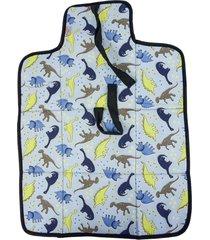 trocador portátil alan pierre baby sem bordado, tricoline 100% algodão - dinossauro azul claro