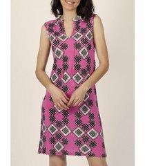 korte jurk admas mouwloze zomerjurk art deco fuchsia