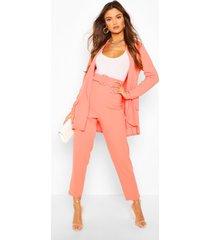 tailored blazer & self fabric belt trouser suit set, coral