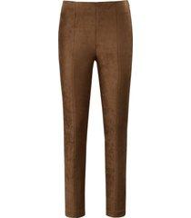 legging met elastische band en ritssluiting opzij van laura biagiotti roma bruin