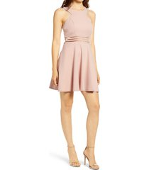 women's speechless illusion detail cutout skater dress, size medium - pink