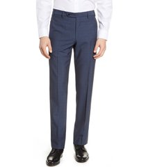 men's zanella devon flat front wool dress pants, size 35 - blue