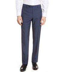 men's zanella devon flat front wool dress pants, size 40 - blue