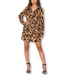 ax paris women's leopard print shirt dress