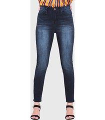 jeans wados pitillo un botón azul - calce ajustado