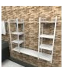 prateleira industrial banheiro aço cor branco 120x30x98cm (c)x(l)x(a) cor mdf branco modelo ind54bb