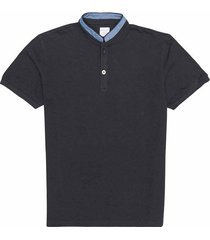 camiseta tipo polo unicolor en piqué, cuello nerú para joven 00507