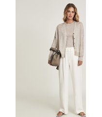 reiss kate - linen blend fine knit cardigan in neutral, womens, size xl