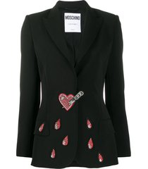 moschino stabbed heart crystal-embellished blazer - black