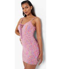 gebreide space dye jurk met strik en bandjes