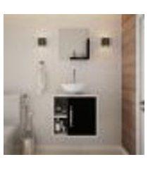 conjunto para banheiro gabinete com cuba redonda r30 e espelheira soft 500 branco com preto ônix