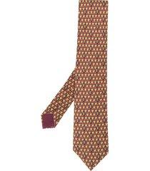 hermès 2000s pre-owned autumn print tie - brown