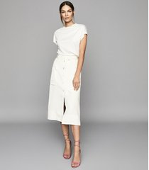 reiss josephine - high rise linen blend midi skirt in buttermilk, womens, size 10