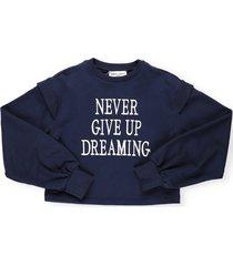 alberta ferretti embroidery cropped sweatshirt